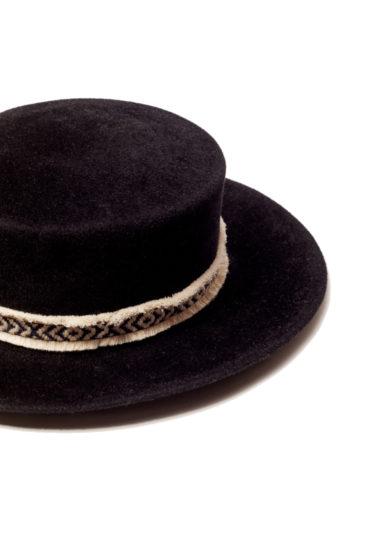 Anperfect kanotier cappello Narya feltro nero decorazione circonferenza nastri velluto