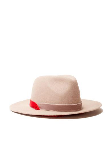 Anperfect cappello Yavanna feltro pelle lepre color tortora nastri velluto interno seta