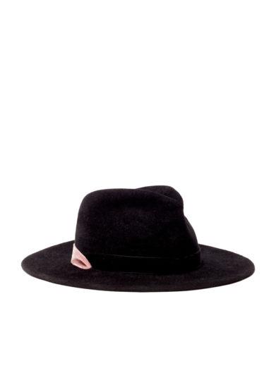 Anperfect cappello feltro nero nastri velluto rosa