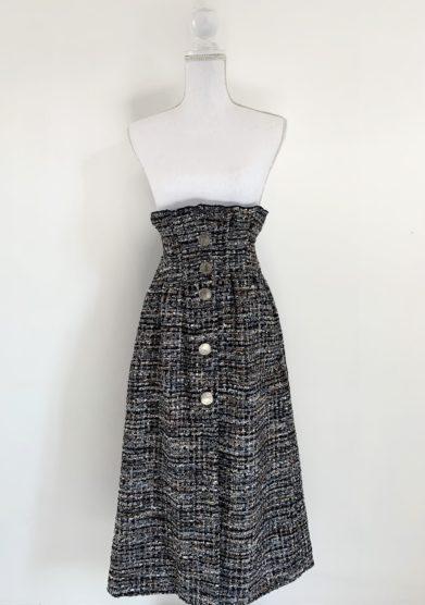 Le globazine gonna midi lana intrecciata nera e bronzo