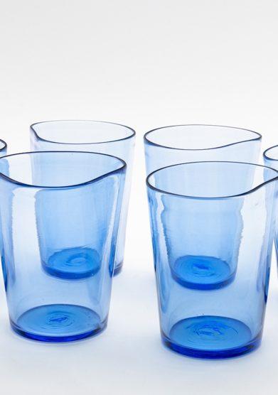 Micheluzzi glass bicchieri mosso bluino vetro murano