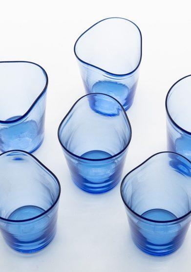 bicchieri mosso bluino vetro murano Micheluzzi glass