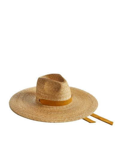 Montegallo cappello big fedora paglia nastro cotone senape