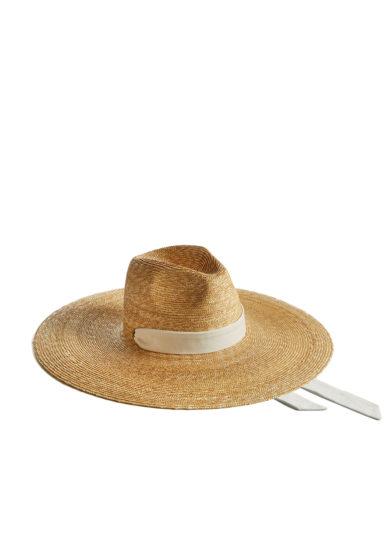 Montegallo cappello paglia big fedora nastro decorativo bianco