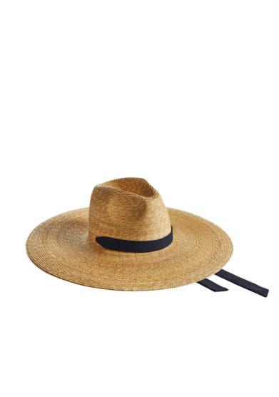 Montegallo cappello big fedora paglia nastro blu