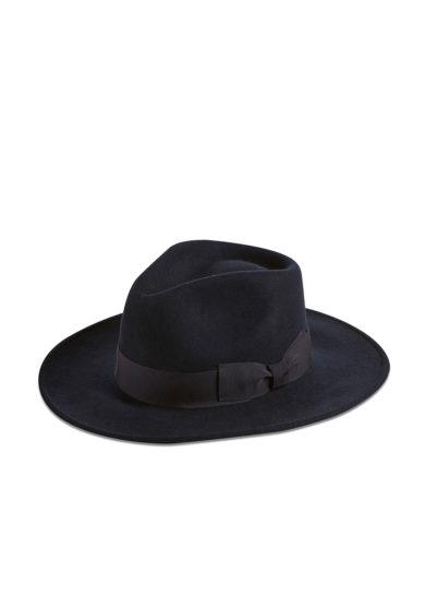 Montegallo cappello fedora feltro lana blu fascia ton sur ton
