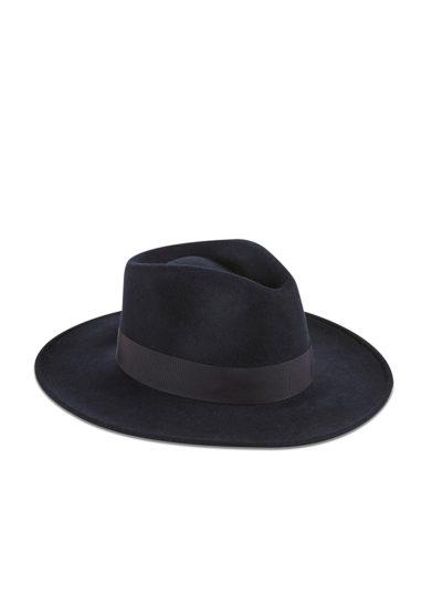 Montegallo cappello Fedora lady Bogart feltro blu nastro blu seta