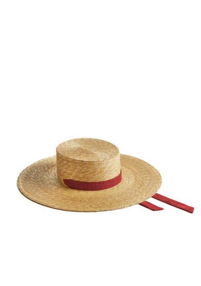 Montegallo cappello paglia gaucho nastro bordeaux