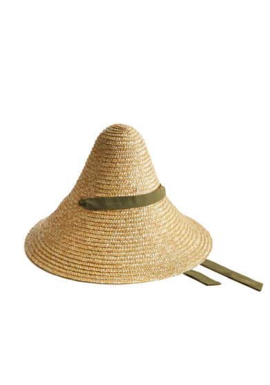 Montegallo cappello paglia cono nastro decorativo cotone oliva