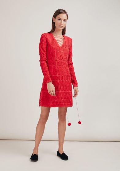 16R romina caponi abito maglia crochet rosso scollo V
