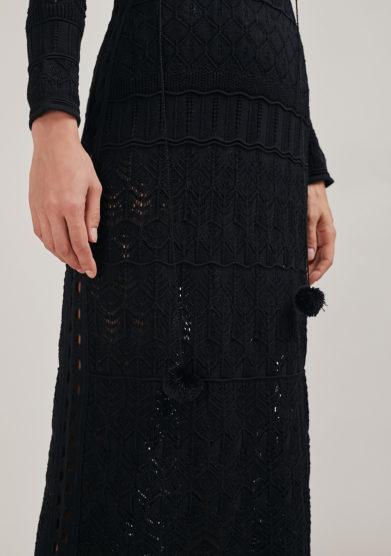 16R abito lungo nero crochet traforato dettaglio