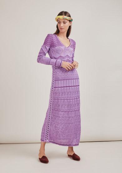 16R romina caponi abito cotone lungo lilla lavorazione fianchi