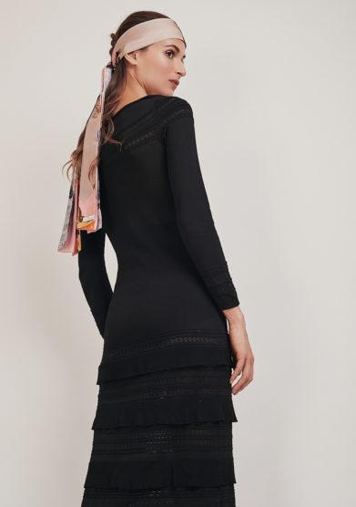 16R abito lungo nero maglia rouches