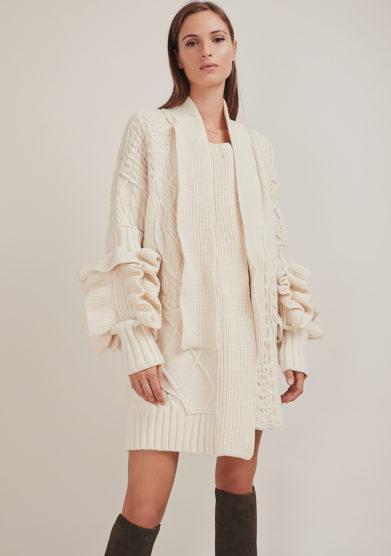 16R cappotto oversized panna maglia patchwork sciarpa incorporata