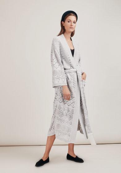 16R kimono maglia argento manica lunga cintura