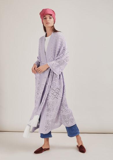 16R romina caponi kimono traforato maglia lilla