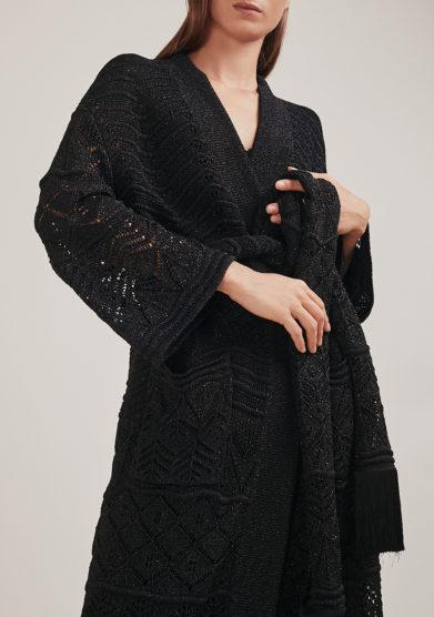 16R romina caponi kimono maglia nero traforato cintura