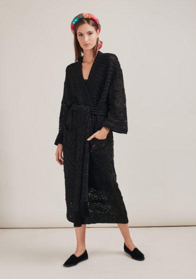 16R romina caponi kimono nero oversize maglia