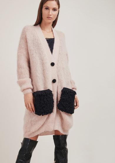 16r romina caponi cardigan mohair rosa chiaro