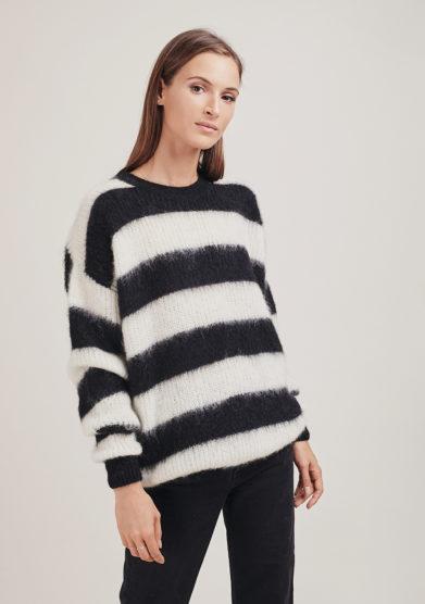 16r romina caponi pullover righe bianco nero girocollo