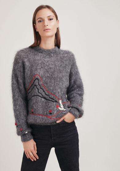 16r romina caponi pullover grigio ricamo motivo naif girocollo