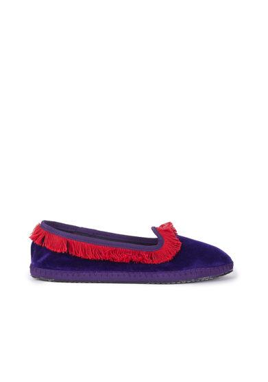 Alla giulia friulane friù venezia velluto viola frangia rosso