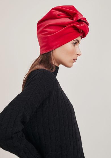 Altalen turbante rosso copro velluto nodo frontale