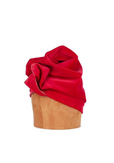 Altalen turbante copro rosso velluto nodo