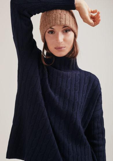 Alyki cappello indossato cashmere marrone