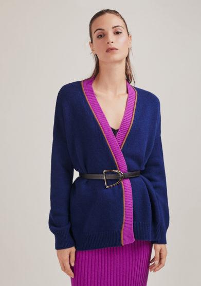 cardigan Nunù alyki in lana e cashmere blu bordo a contrasto