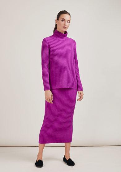 Alyki gonna in maglia a coste lana e cashmere porpora