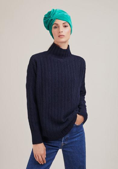 Alyki maglia a collo alto blu in lana e cashmere a trecce