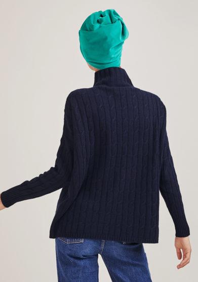 Alyki maglia a collo alto blu in lana e cashmere a trecce over