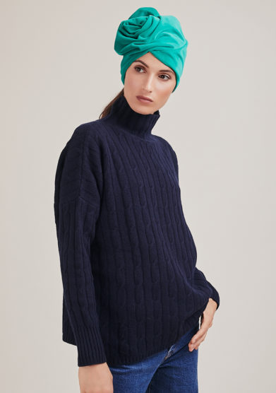 maglia a collo alto blu in lana e cashmere a trecce alyki