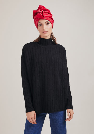 Alyki maglia a collo alto nero in lana e cashmere a trecce