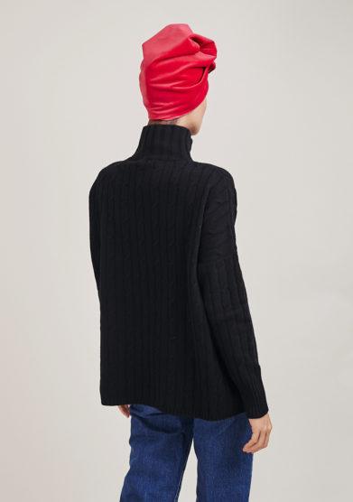 maglia a collo alto nero in lana e cashmere a trecce alyki
