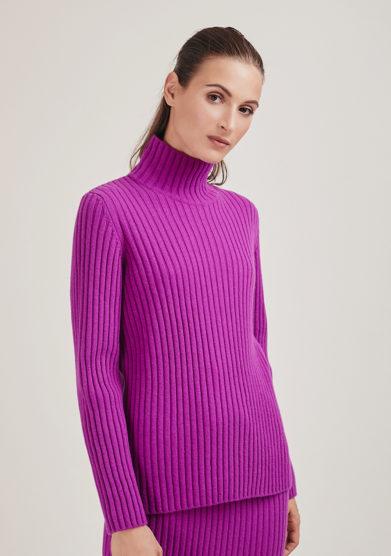 Alyki maglia lana e cashmere collo alto a coste purple