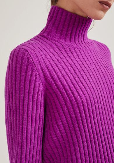 maglia lana e cashmere collo alto a coste purple alyki