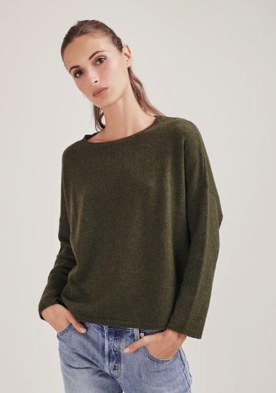 Alyki maglia paricollo corta in cashmere verde