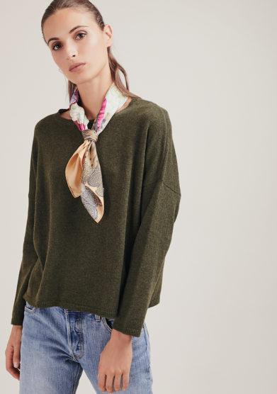 maglia paricollo corta alyki in cashmere verde