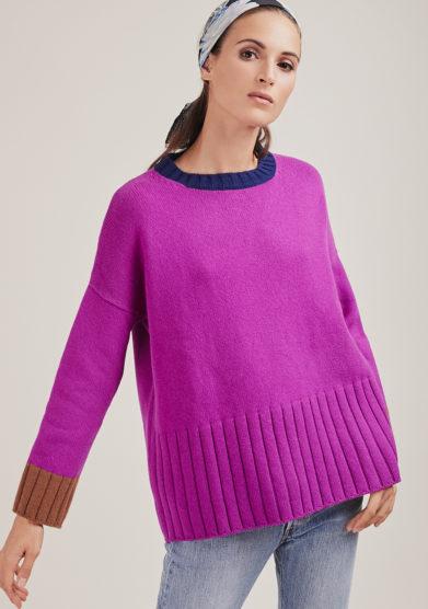 maglia paricollo porpora con bordi a contrasto in lana e cashmere alyki