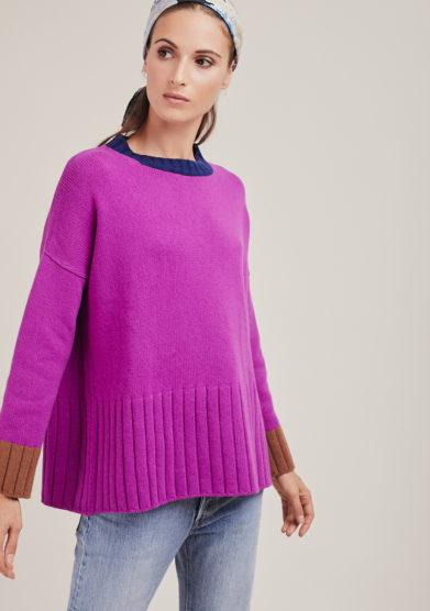 Alyki maglia paricollo porpora con bordi a contrasto in lana e cashmere