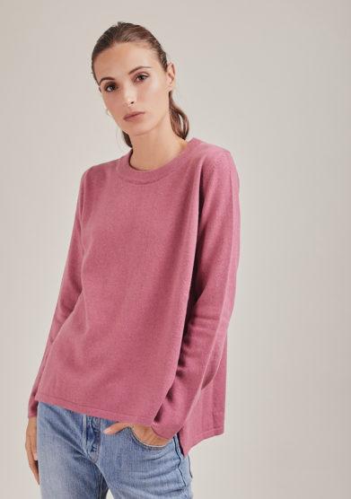 Alyki maglia paricollo rosa in lana e cashmere