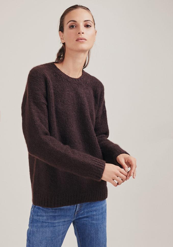 pullover in cashmere e seta marrone alyki