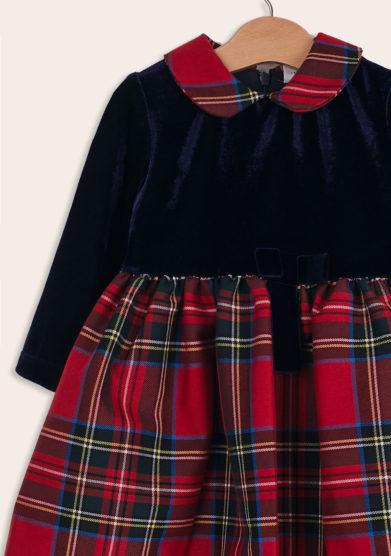 Baroni Firenze vestito bimba ciniglia blu gonna scozzese