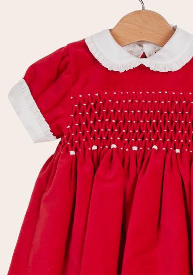 Baroni Firenze abito cerimonia bimba smock rosso