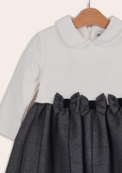 Baroni Firenze abito bimba fiocchi grigio bianco