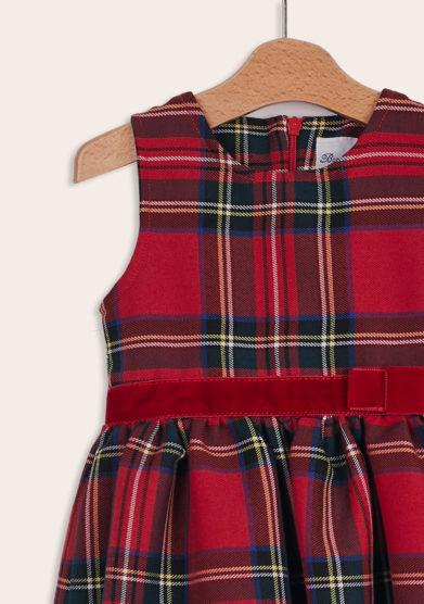 Baroni Firenze abito bimba scozzese rosso senza maniche