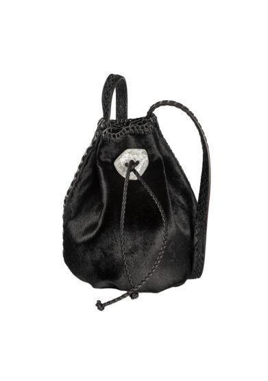 Iacobella borsa secchiello Nirmala nera pelle cavallino chiusura coulisse