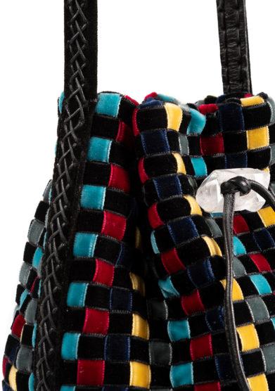 Iacobella borsa Nirmala secchiello multicolor velluto chiusura coulisse pietra